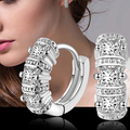 2015 Hot Women's Silver Plated Gold Zircon Rhinestones Classy Hoop Earrings Jewelry Gift Birthday Gift