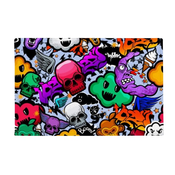 Graffiti Street Culture Colorful Skull Anti-slip Floor Mat Carpet Bathroom Living Room Kitchen Door 16x30Gift