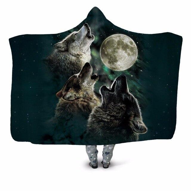 Three Wolf Moon 3D Printed Plush Hooded Blanket 1