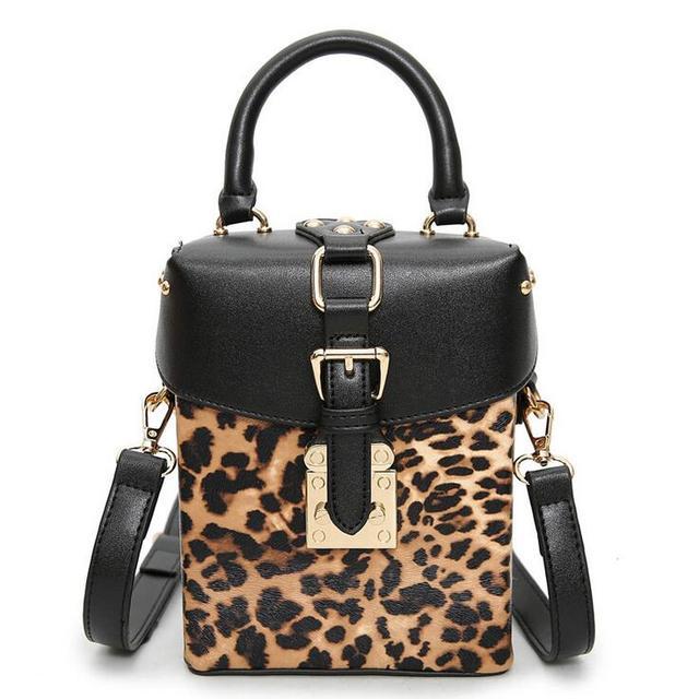 2017 Pu Leather Handbags Women S Designer Leopard Handbag High Quality Fashion Printing Rivet Shoulder Bag Square