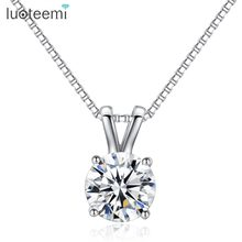 LUOTEEMI Brand Gift Classic Permanent 2ct Solitaire Hearts and Arrows CZ Pendant Necklace Birthday Gift Factory Wholesale(China)