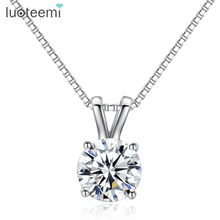 Drop Shipping Simple Design Hearts And Arrows Cubic Zirconia Stone Sona Pendant Necklace For Women стоимость
