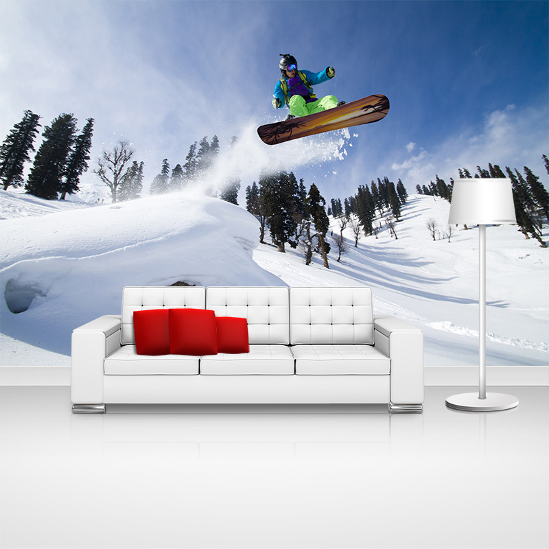 Custom home decor skiing sports photo papel de parede wall - Papel de pared moderno ...