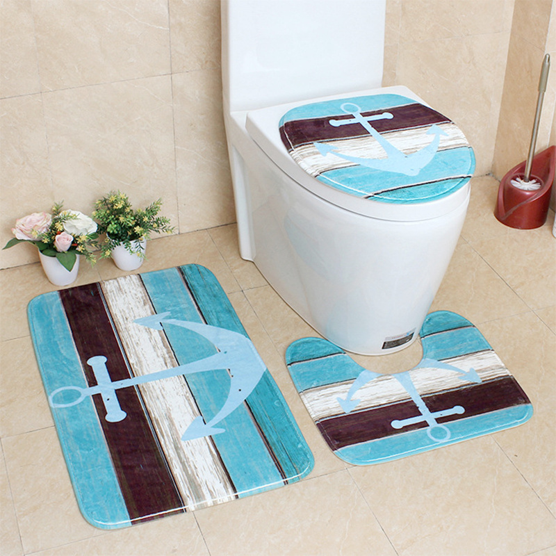 3Pcs/Set Flannel Printing and Dyeing Bath Mats and Toilet Cover Non-Slip Absorbent Bathroom with Rug Retro Decoration ...
