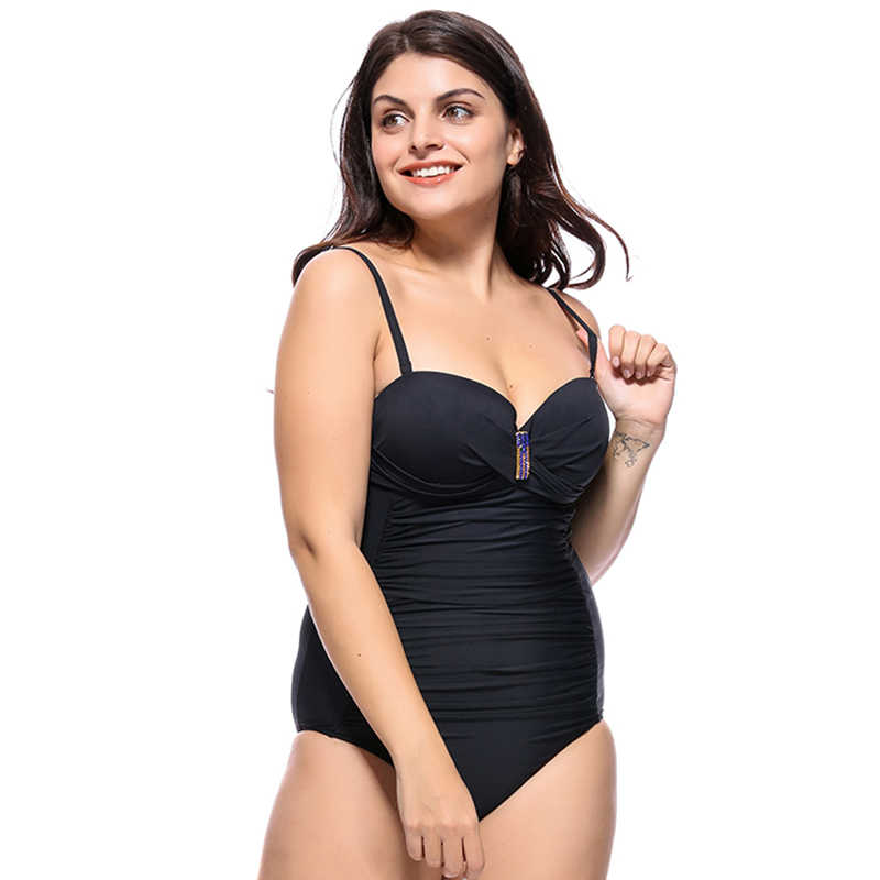 Ropa de baño de talla grande 5xl 6XL, monokini sexy de una pieza, ropa de baño, top de tubo, bikini con aros, bikinis de baño de mujer 2019, push up