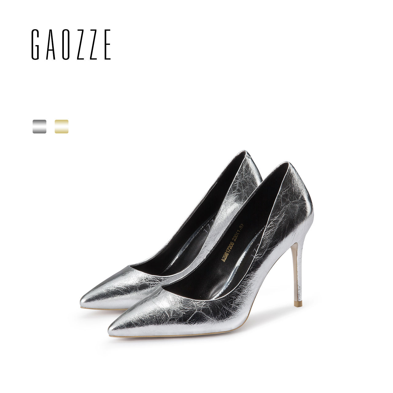 GAOZZE Metal Sheepskin Dazzling Silver Social Party Women Pumps Shoes Pointed Toe Women High Heels Genuine Leather 2018 Spring