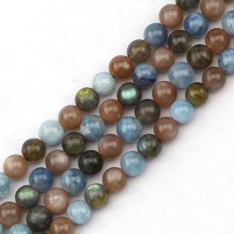 8mm mixed natural stone beads : sunstone labradorite aquamarin DIY loose beads for jewelry making strand 15 free shipping !