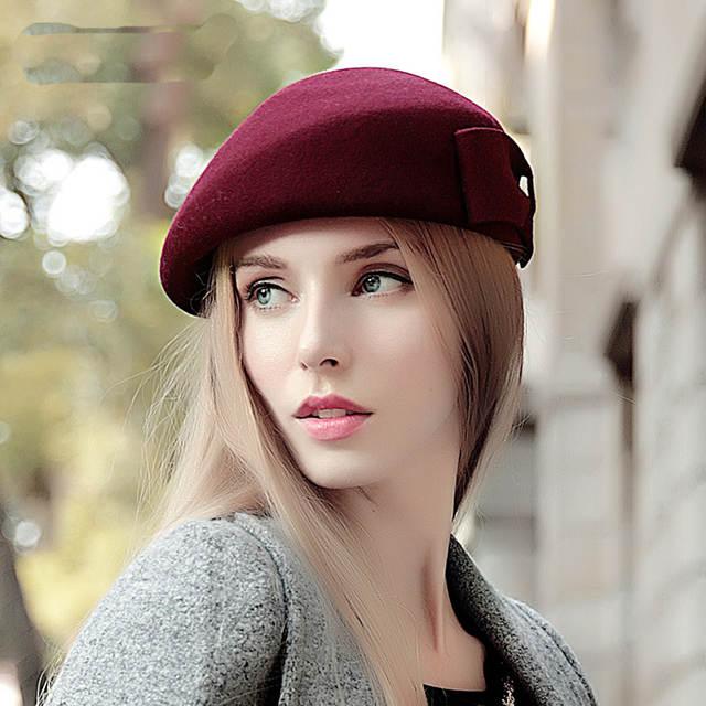 626748fc0a36d placeholder Clásico de invierno 100% sombrero de lana para mujer caliente  arte francés boina vasca femenino