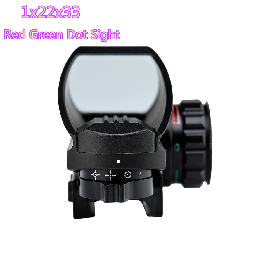 Free Shipping 1x22x33 Compact Reflex Red Green Dot Sight Riflescope 4 Reticle Sight For Airsoft With Weaver 21mm Hunting Optics