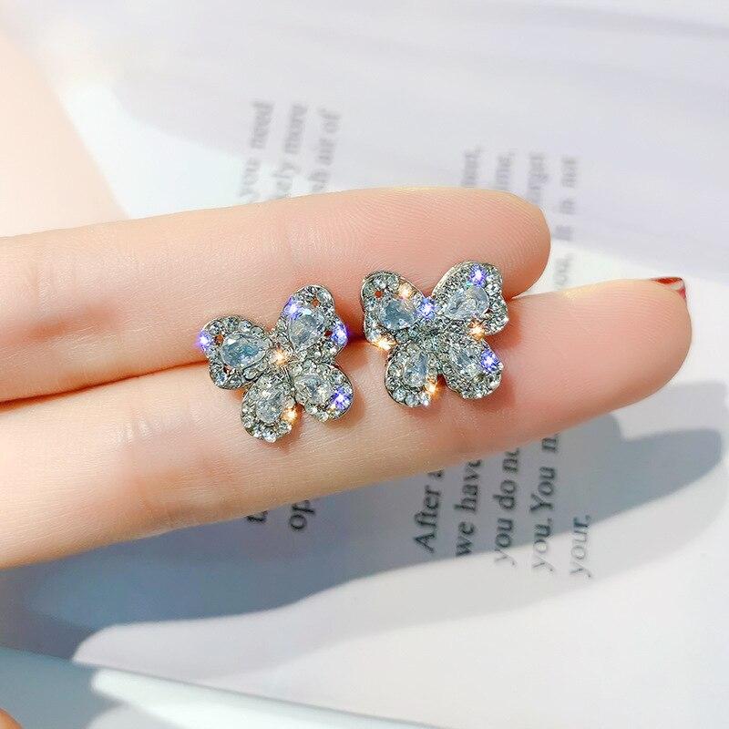 New Luxury Crystal Rose Gold Stud Earrings Butterfly Earrings For Women 2020 Party Korea Gold Silver Color Jewelry oorbellen