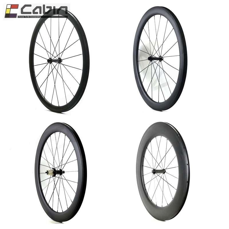700C bici da strada Ruote In Carbonio, 24/38/50/60/88mm il più durevole Tubolare Wheelset Della Graffatrice Del Carbonio, super leggero