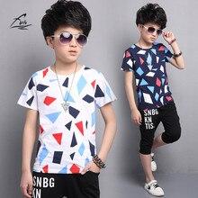 FYH 2017 Kids Boys Summer Suit Baby Boys T-shirt +Shorts Teenager Boys Short-sleeved Set Children's Cotton T-shirt + Boy Shorts