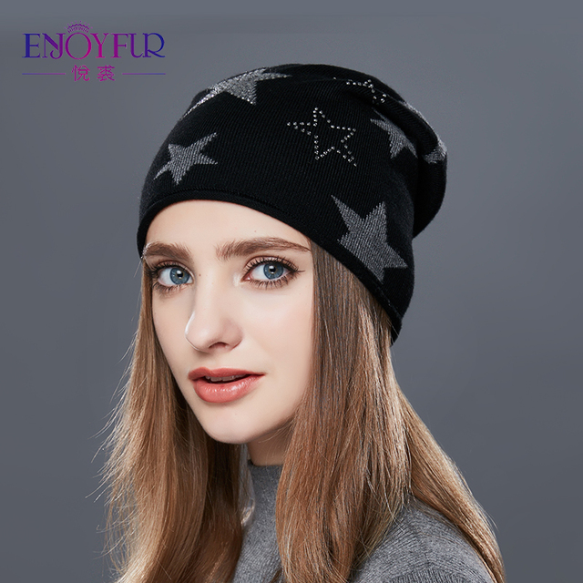 a56ea5be123 ENJOYFUR Winter Hats For Women Fashion Knitted Female Cap Five-Pointed Star  Rhinestones Beanies New