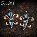 Специальный новинка позолоченные серьги старинные синий CZ бриллиантовые серьги синего ювелирные изделия подарки для женщин ED151021