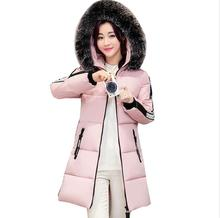 2017 New Winter Women's fashion Warm down Jacket big Fur hooded letter print down cotton coat Parka outwear a513