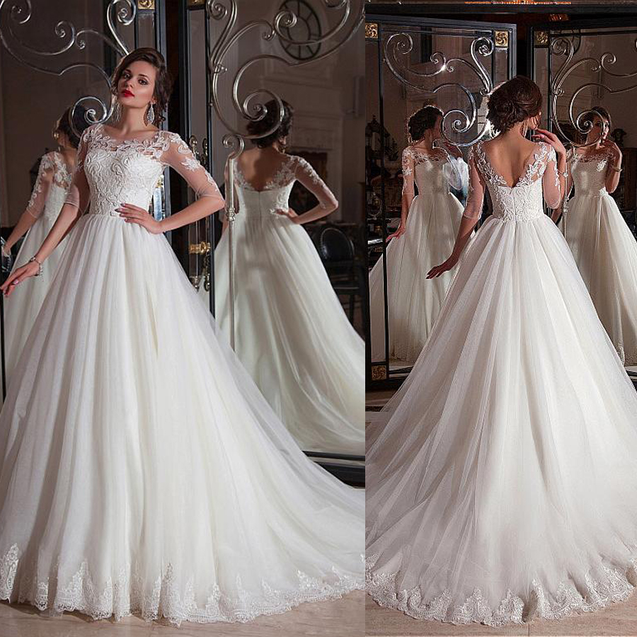 Fabulous Tulle Bateau Neckline Ball Gown Wedding Dresses With Lace Appliques Half Sleeves Bridal Gowns Vestidos De Novia Cortos