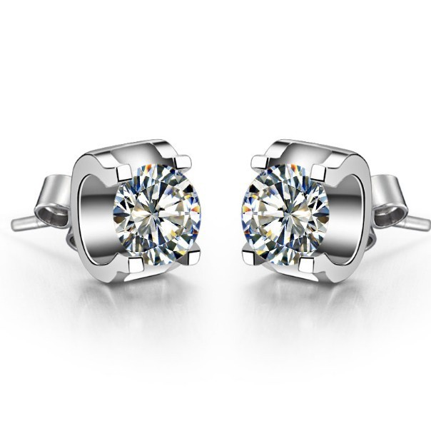 622423fb5 Solid 585 White Gold Earrings Stud Pretty 0.5Ct Genuine Moissanite Earrings  Stud Earring Bridal Engagement Women White Gold 585