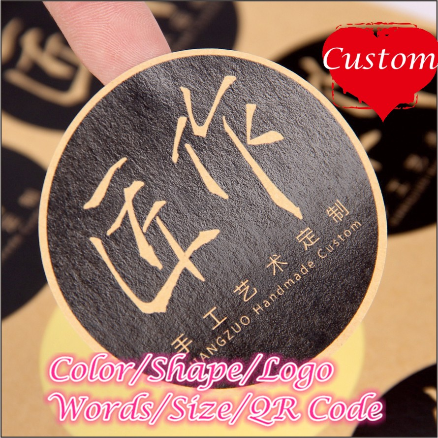 Custom Logo Brand Print Transparent Label Stickers Tag Plastic PVC Golden Printing Kraft Paper Invitation Sealing Sticker In Party DIY Decorations From Home
