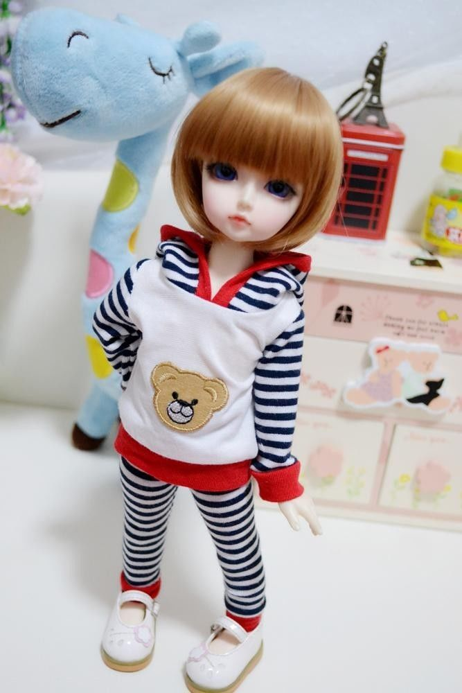 wamami Black White Stripes Cubs 2pc Hoodies Pants 1 6 SD DZ DOD BJD Dollfie