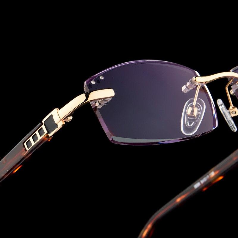 Luxury Business Reading Glasses Men's Rimless Gold Hyperopia Male Reader Eyeglasses High Clear Lens Man Presbyopic Eye Glasses