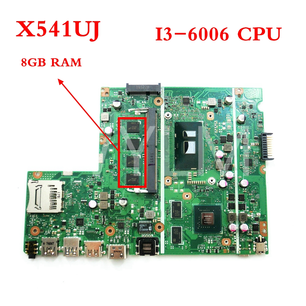 цена X541UJ With I3-6006 CPU With 8GB memory mainboard For ASUS X541UVK X541UJ X541UV laptop motherboard Tested Working FREE SHIPPING