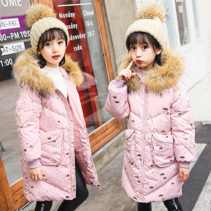 Tong down jacket 2018 new Korean version of the girl in the long section of the thickening of the big boy coa boy windbreaker 2018children s windbreaker coat in the long section of self cultivation in the korean version of children s wear