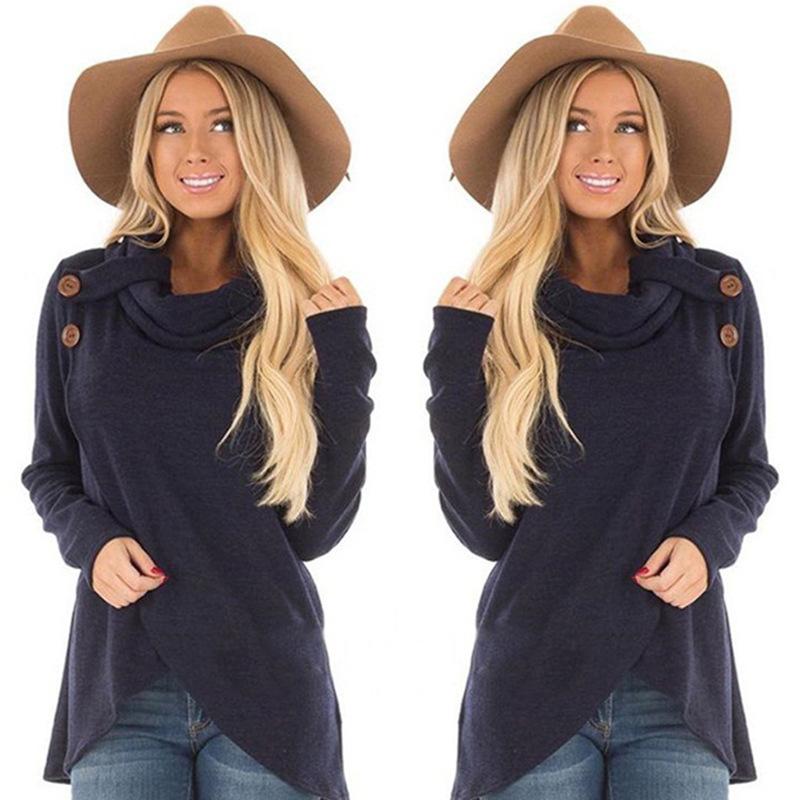 Vogue Casual Sweatshirt Women Hoodies Turtleneck Pullover Nice Autumn Coat Loose Button Sweatshirt Female