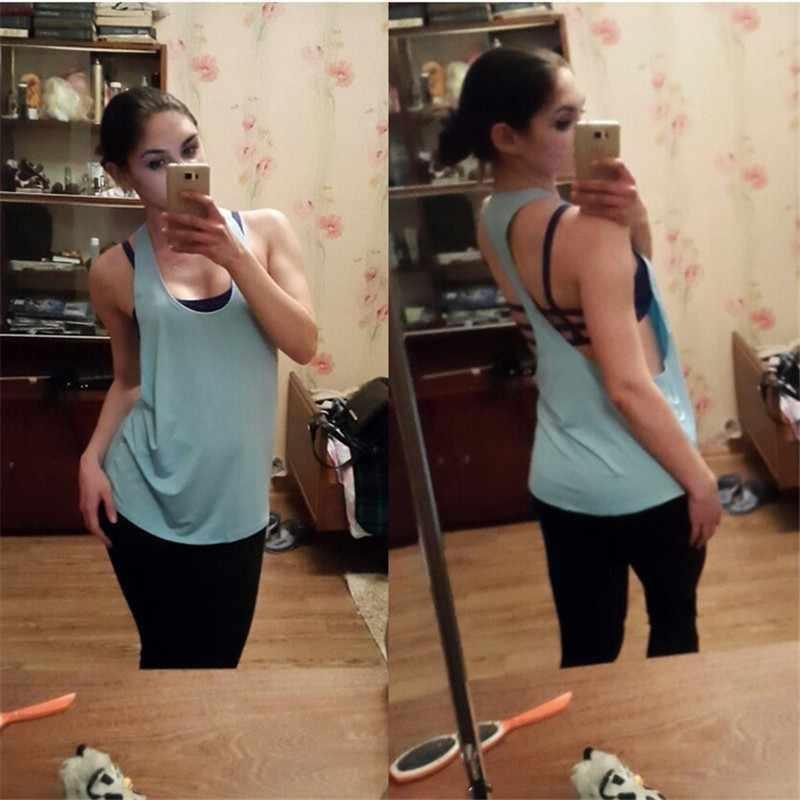 Female Sport Top Jersey Women T-shirt Crop Top Yoga Gym Fitness Sport Sleeveless Vest Singlet Running Training Top for Promotion