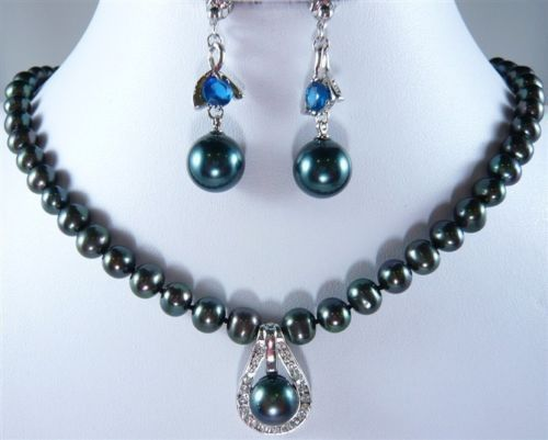 free shipping Fashion 8mm Black Shell Pearl Necklace + 12mm Inlay Pendant Earrings Set