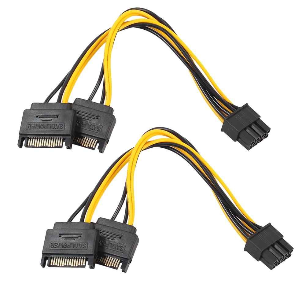 2PCS NEW Dual SATA 15pin to 8pin(6+2)  Video Card Powr Adapter Cable 20cm PCI-E SATA Power Supply Cable 15- pin to 8 pin cable 15pin sata male to 8pin 6 2 pci e male video card power supply adapter cable drop shipping 0804