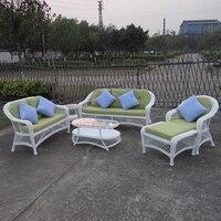 6 pcs хорошее качество круглый PE ротанга Алюминиевая Рамка комплект для отдыха диван для наружного белого цвета