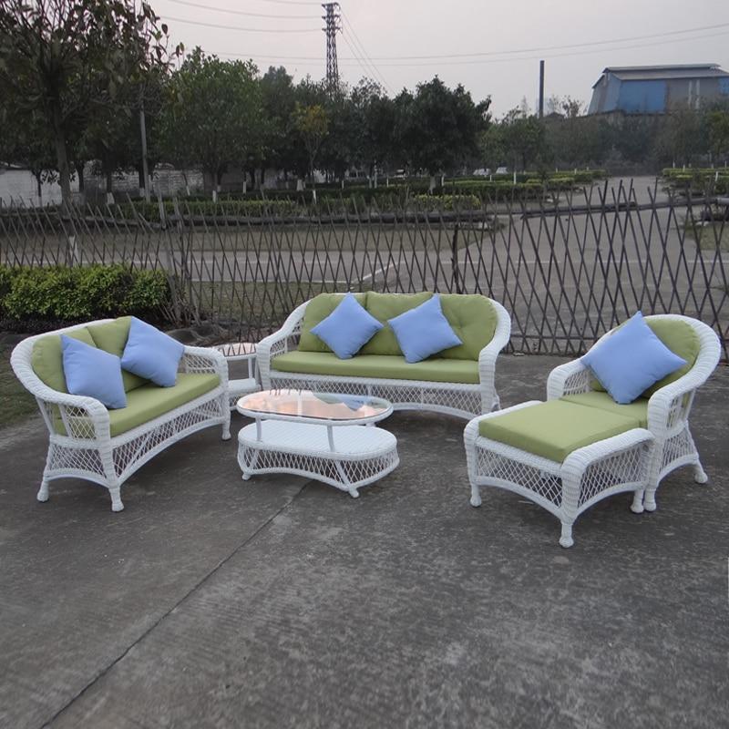 6-pcs Good Quality Round PE Rattan Furniture Aluminum Frame Set Leisure Sofa For Outdoor White Color