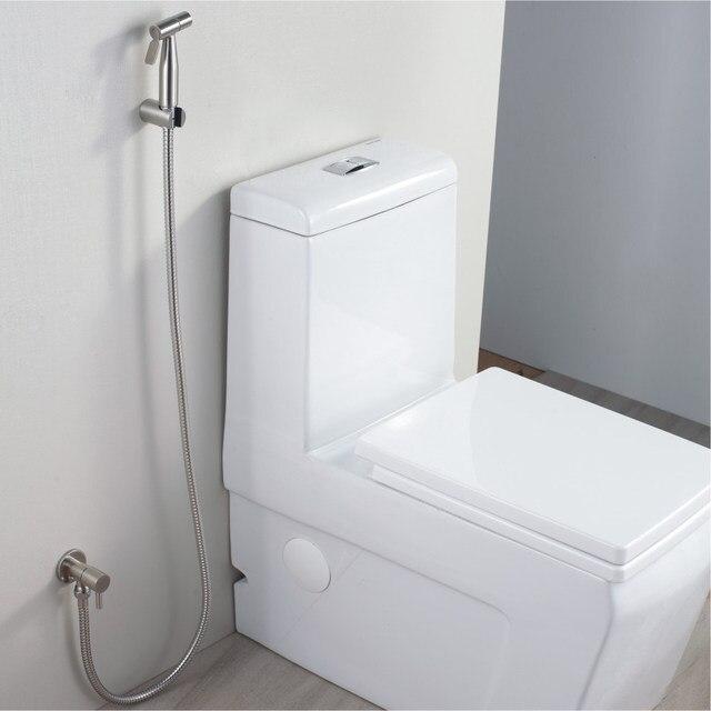 Brushed Nickel Stainless Steel Toilet Handheld Diaper Sprayer Shower  Shattaf Bidet Spray Douche Kit Jet Hose Holder