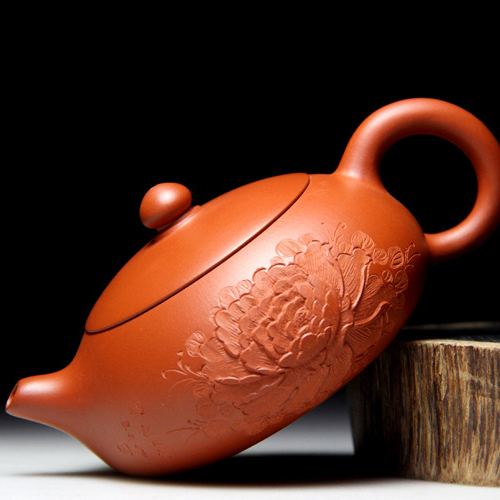 78 ball hole flat beauty pot Yixing teapot famous handmade teapot Zhu mud flat ore peony depict beauty teapot