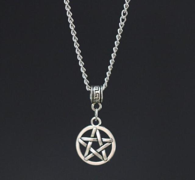 1pcs ancient silver pentagram pendant necklace pentacle charms 1pcs ancient silver pentagram pendant necklace pentacle charms wiccan pagan 18 chain jewelry gift aloadofball Gallery