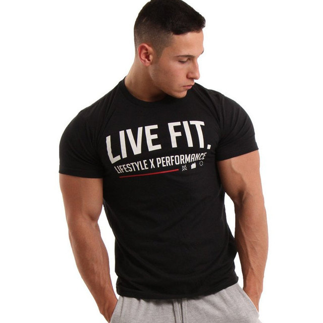 55f737d9 Brand men's Fashion t shirt Men Crossfit Tops summer New Fitness  Bodybuilding clothes Muscle Male shirts Cotton Slim fit Tees