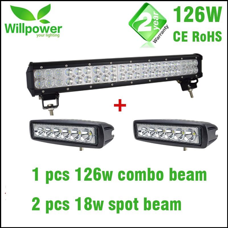High power 126W 20 inch offroad led light bar with 2 pcs 6 inch 18w led work light spot beam 18w 1440lm 6500k 25 degree spot beam 6 led work light bar 10 30v