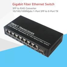 Convertidor Gigabit SFP, fibra optica Switch, ranura SFP de 1 puerto a conector TX RJ45 de 8 puertos, interruptor transceptor SFP de fibra óptica