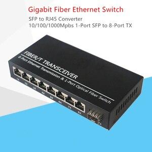 Image 1 - Convertidor Gigabit SFP, fibra optica Switch, ranura SFP de 1 puerto a conector TX RJ45 de 8 puertos, interruptor transceptor SFP de fibra óptica