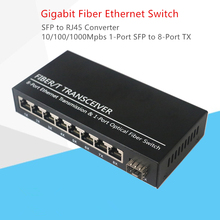 SFP Gigabit Converter fibra optica Switch 1-Port Slot to 8-Port TX RJ45 Connector Fiber Optic Transceiver