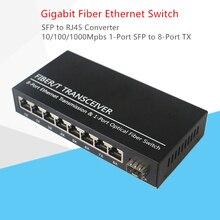 SFP جيجابت تحويل fibra البصري التبديل 1 ميناء SFP فتحة إلى 8 ميناء TX RJ45 موصل SFP مُرسل ومستقبل ألياف ضوئية التبديل