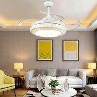LukLoy Кристалл Невидимый вентилятор потолочный светильник белый простой Гостиная Обеденная Спальня практические декоративные невидимым ве