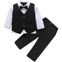 Baby Boys Gentleman Suits Clothing Sets Two Piece for Birthday Wedding Formal Party Wear Cotton Children Clothes ETWT 8059