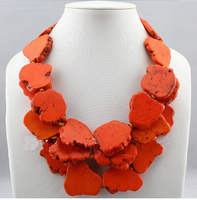 Wedding Woman Gift Necklace Orange Stone Slice Choker Necklace 3 Layer Exaggerated Stone Jewelry Gift