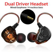 New Fashion Wired Earphone Bass Heavy Dual Driver Stereo HIFI Earphones Sport Music Earbud with Mic for Smartphone