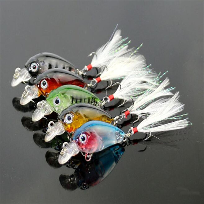 HENGJIA 3.6cm 4g Crankbait Crank fishing lures Feather Hooks Bass lure Topwater fishing  ...