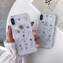 Real Flowers Dried Handmade Pressed Soft TPU Cover For iPhone X 6 6S 7 8 plus Phone Case iphone XR XS Max Capa