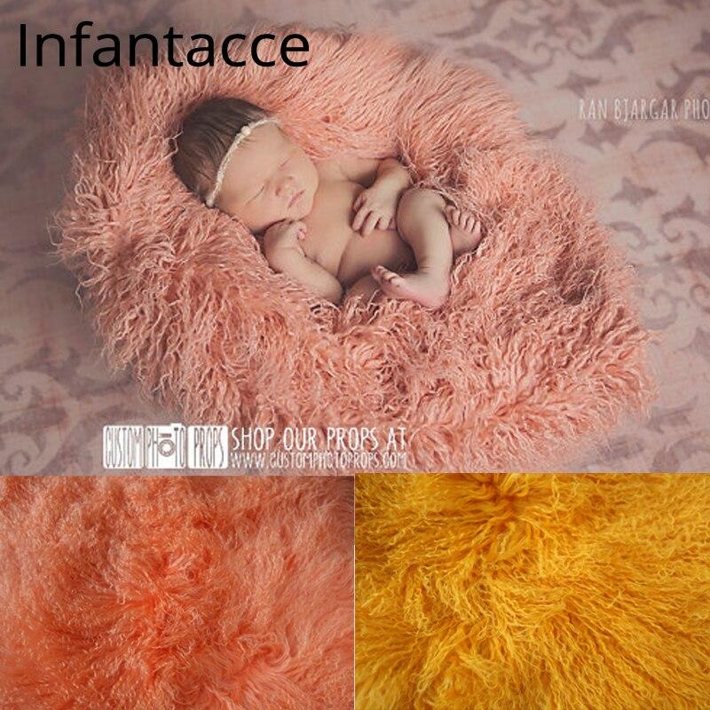 24in carré Pure laine fourrure couverture nouveau-né accessoires infantile panier remplisseur photo bébé photographie décors fond polaire