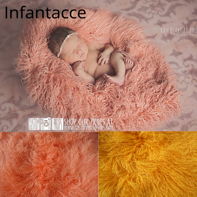 6feee0d74ad9 24in square Pure wool fur blanket Newborn props infant basket filler ...
