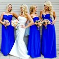 Royal Blue Bridesmaid Dresses Vintage Formal Sweetheart Chiffon Pleated Back Zipper Floor Length Vestidos De Festa Women's Dress